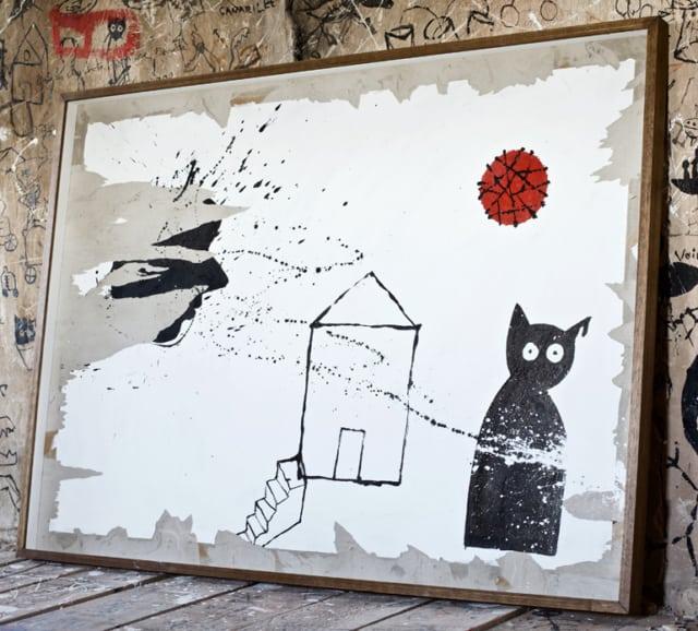 Le presbytère, 2019 Acrylique, encre de chine et peinture industrielle sur carton 140 x 100 cm, RG-19216 ©ROCHEGAUSSEN
