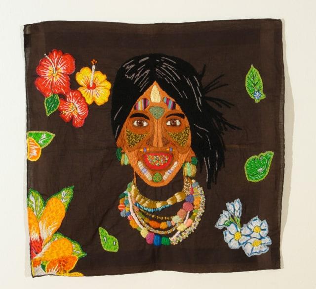 Los Herederos 1A Broderie à la main, fil de coton, rayon et appliques sur mouchoir d'homme ©CHIACHIO&GIANNONE
