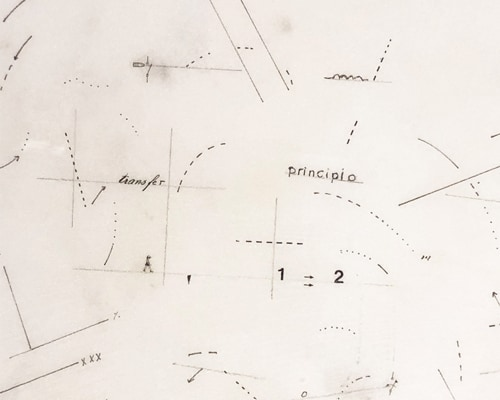 Principiotransfer1978Dessinsurmarbrestatuaireetpapierdansuncadreenbois55x52x6cmMO-19014MarieOrensanz