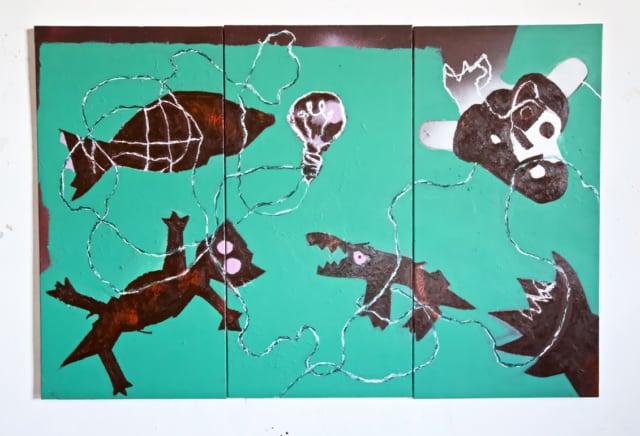 La fée et l'électricité II, 2020 Acrylique, huile et pastel sur toile 150 x 100 cm, RG-20041 ©ROCHEGAUSSEN