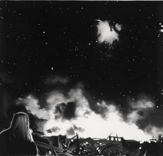 Oublier Mars, 2016 Dessin à la pierre noire sur papier 61,5 x 64 cm ©Raphaël Tachdjian