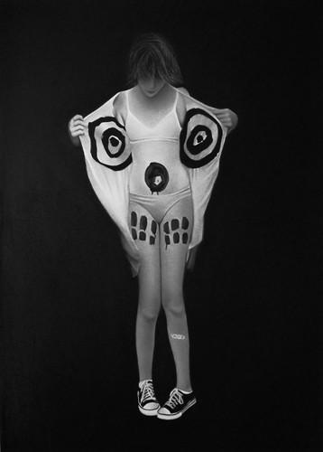 Daphné et son monstre, 2019 Dessin à la pierre noire sur papier 60 x 80 cm, RT952 ©Raphaël Tachdjian