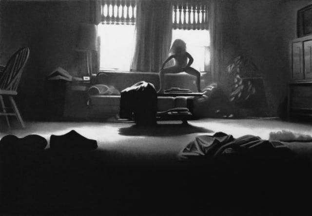 Totem, 2019 Dessin à la pierre noire sur papier 50 x 65 cm, RT964 ©Raphaël Tachdjian