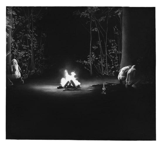 Entre les jambes er les os, 2016 Dessin à la pierre noire sur papier 58 x 64,5 cm, RT887 ©Raphaël Tachdjian (collection privée)
