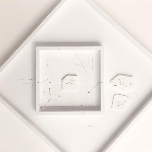 Re-voir, 1986-2016, Dessin sur marbre statuaire et papier dans un cadre en bois, 67,5 x 67,5 x 8 cm, MO-19017 ©Marie Orensanz