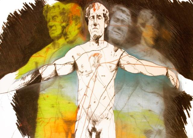 Face à face avec Harvey Keitel, 2009 Dessin au crayon et fusain sur papier 90 x 120 cm ©Ghyslain Bertholon