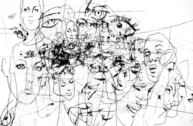 Face à face avec Romy Schneider, 2009 Dessin au crayon et fusain sur papier ©Ghyslain Bertholon