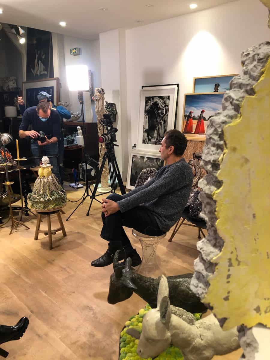 Tournage France24 avec Hélène Darroze, à la School Gallery, octobre 2020
