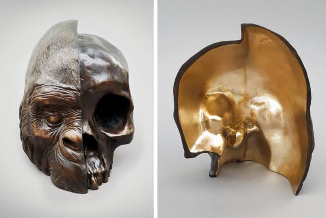 Recto/Verso, 2020 Sculpture en bronze et feuille d'or 30 x 23 x 15 cm ©Ghyslain Bertholon