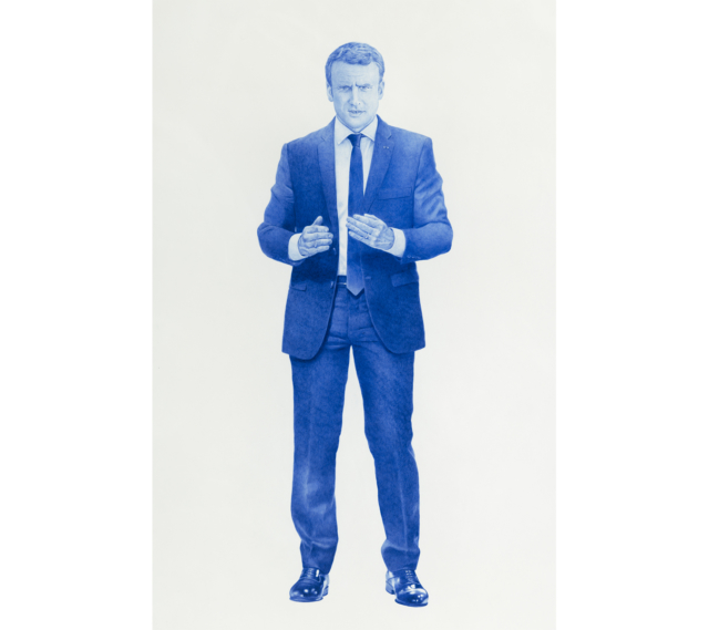 Sauvage #15 (Emmanuel Macron), 2018 Dessin au stylo à bille bleu sur papier 120 x 75 cm, KO-1805 ©KONRAD