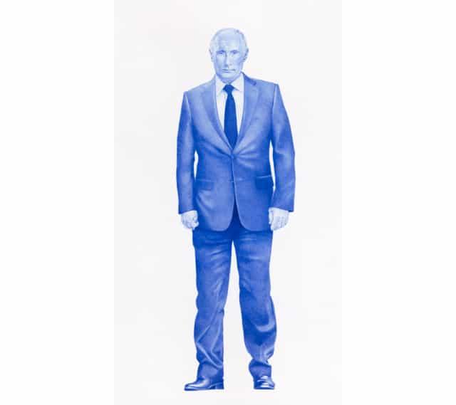 Sauvage #16 (Vladimir Poutine), 2019 Dessin au stylo à bille bleu sur papier 120 x 75 cm, KO-1902 ©KONRAD