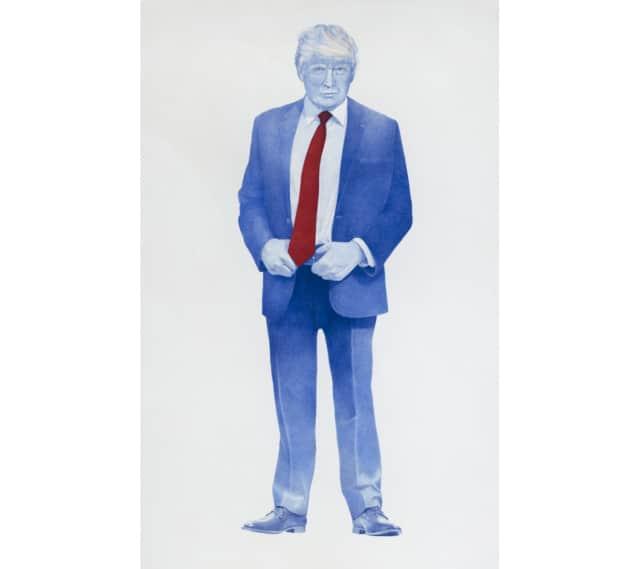 Sauvage #13 (Donald Trump), 2018 Dessin au stylo à bille bleu sur papier 120 x 75 cm, KO-1807 ©KONRAD