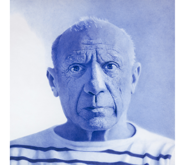 Pablo Picasso, 2020 Dessin au stylo à bille bleu sur papier 100 x 100 cm, KO-2016 ©KONRAD