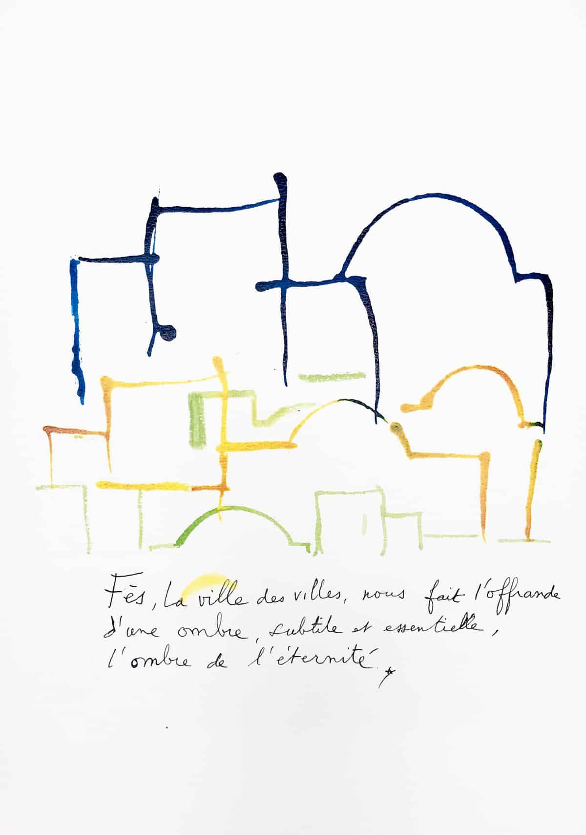 Fès, la ville des villes, 2019 Dessin à l'encre, 35,5 x 50 cm ©Tahar Ben Jelloun