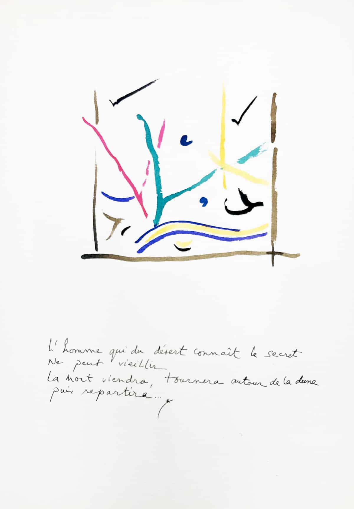 L'homme qui du désert connaît le secret, 2019 Dessin à l'encre, 35,5 x 50 cm ©Tahar Ben Jelloun