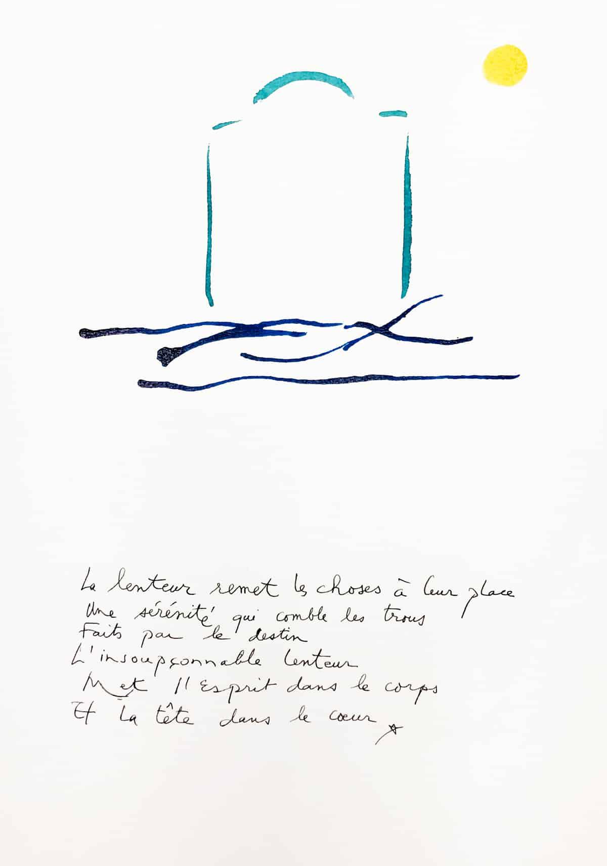 La lenteur remet les choses à leur place, 2019 Dessin à l'encre, 35,5 x 50 cm ©Tahar Ben Jelloun