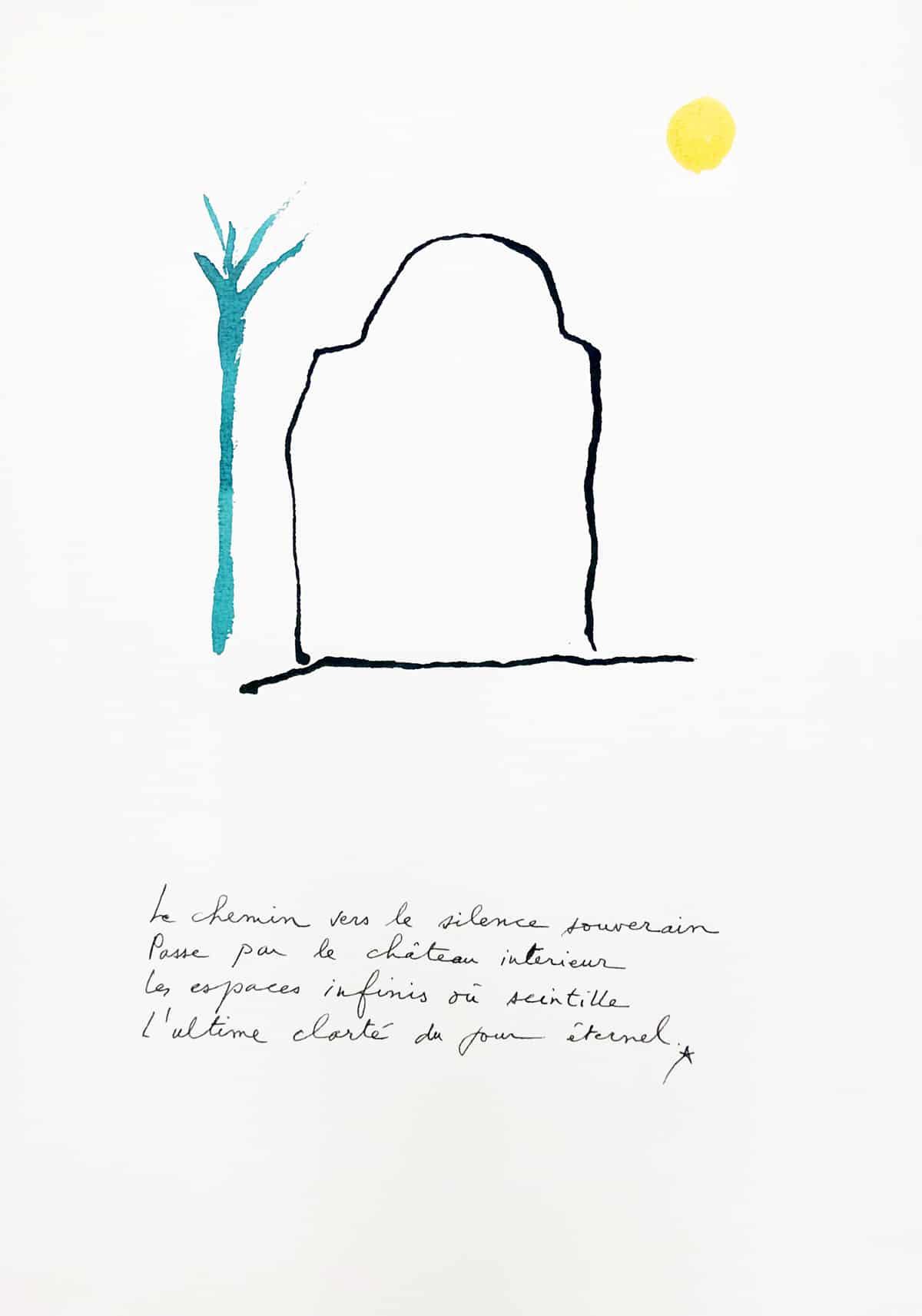 Le chemin vers le silence souverain, 2019 Dessin à l'encre, 35,5 x 50 cm ©Tahar Ben Jelloun