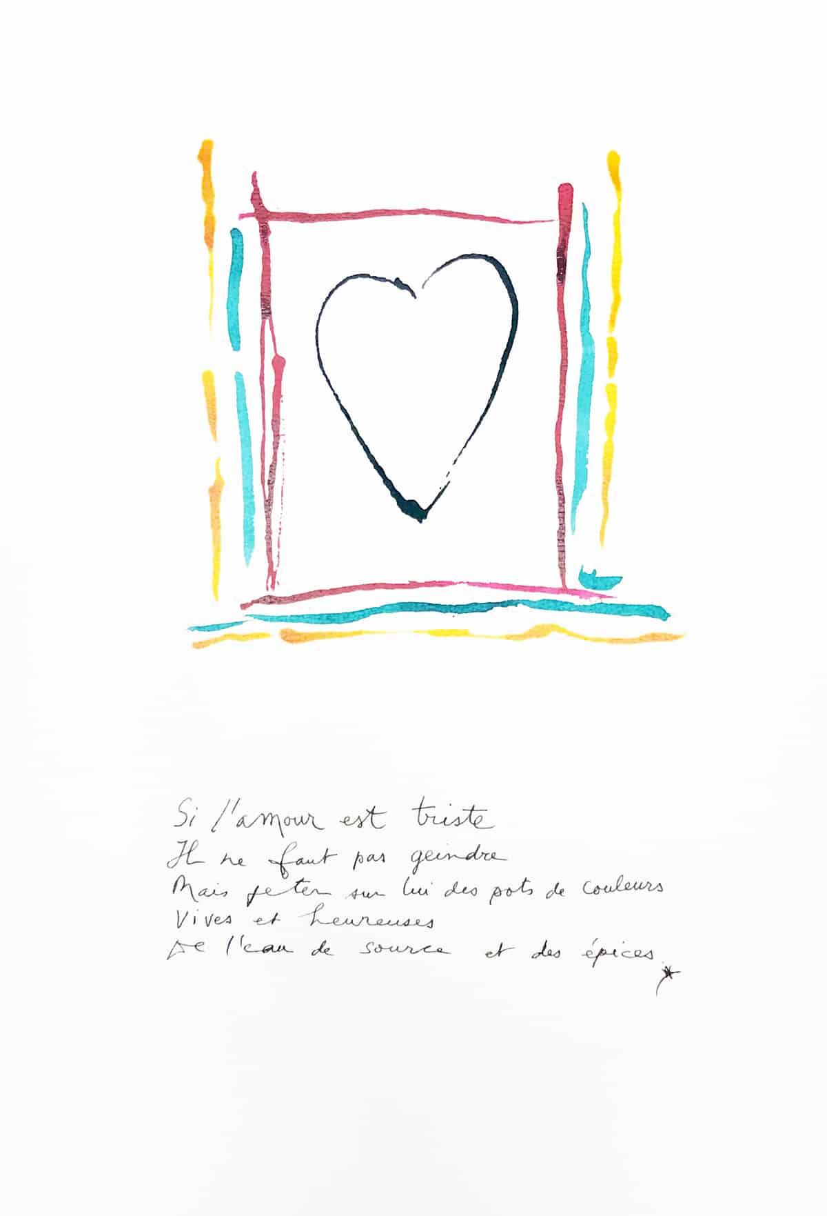 Si l'amour est triste, 2019 Dessin à l'encre, 35,5 x 50 cm ©Tahar Ben Jelloun
