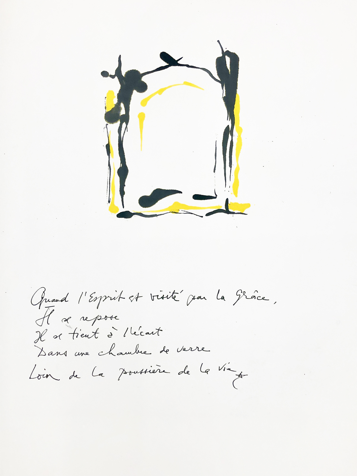 Quand l'Esprit est visité par la grâce, 2019 Dessin à l'encre, 35,5 x 50 cm ©Tahar Ben Jelloun