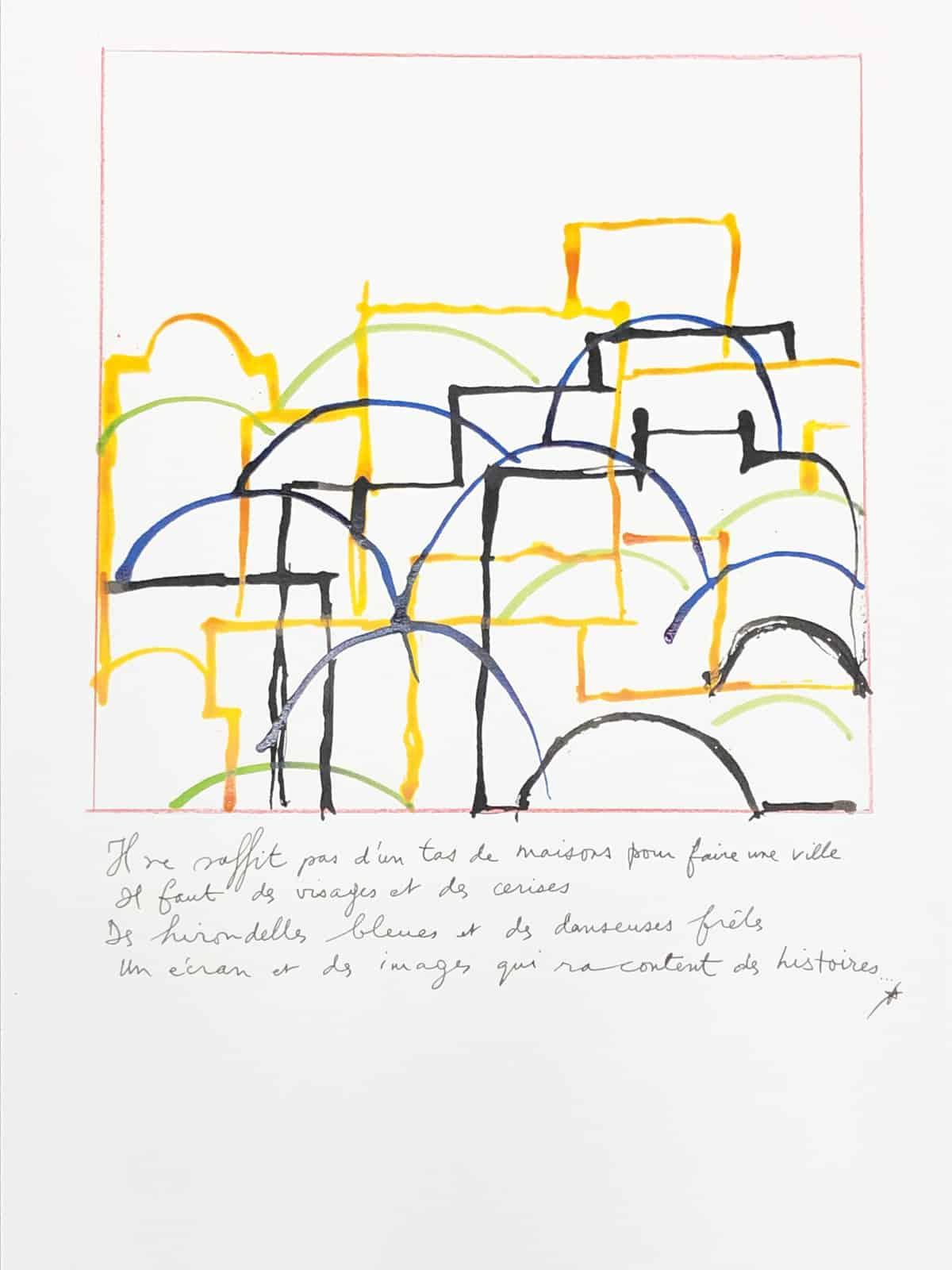 Il ne suffit pas d'un tas de maisons pour faire une ville, 2019 Dessin à l'encre, 35,5 x 50 cm ©Tahar Ben Jelloun