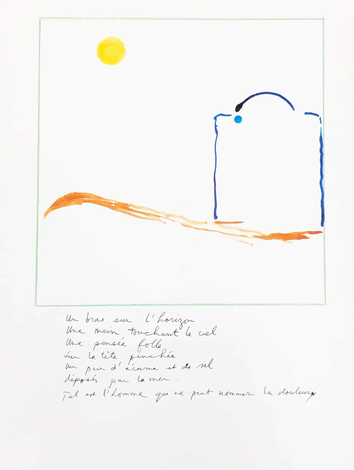 Un bras sur l'horizon, 2019 Dessin à l'encre, 35,5 x 50 cm ©Tahar Ben Jelloun