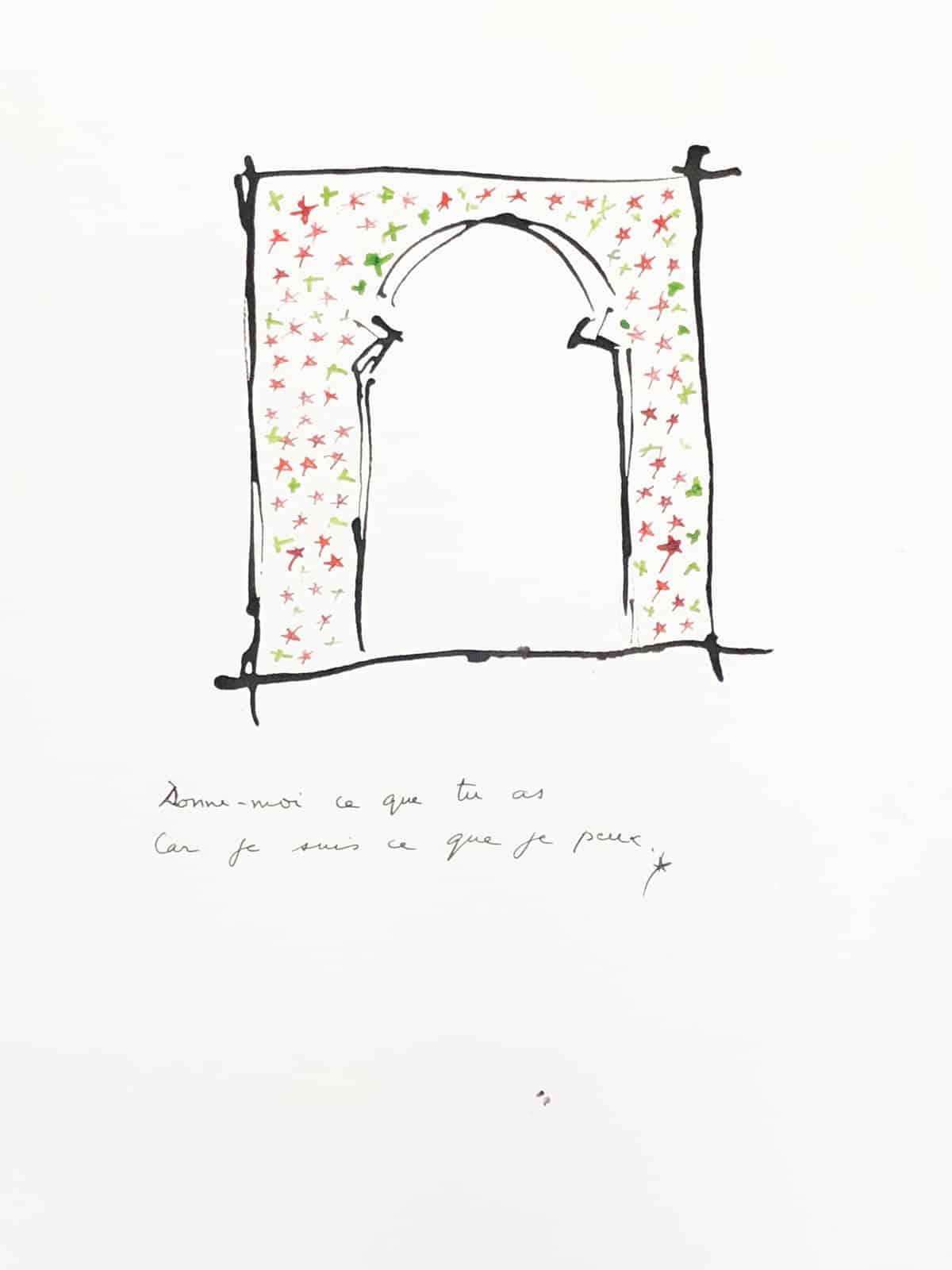 Donnes moi ce que tu as, car je suis ce que je peux, 2019 Dessin à l'encre, 37,5 x 37,5 cm ©Tahar Ben Jelloun