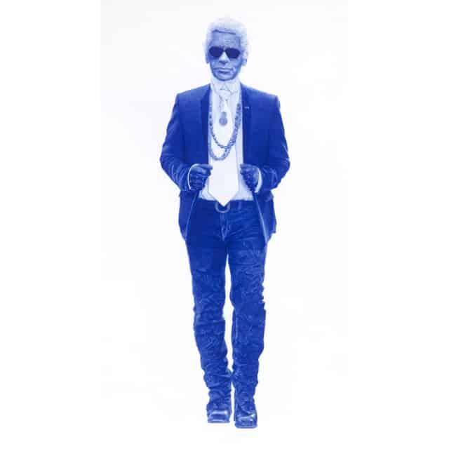 Sauvage #19 (Karl Lagerfeld), 2021 Dessin au stylo à bille bleu sur papier 120 x 75 cm, KO-2101 ©KONRAD
