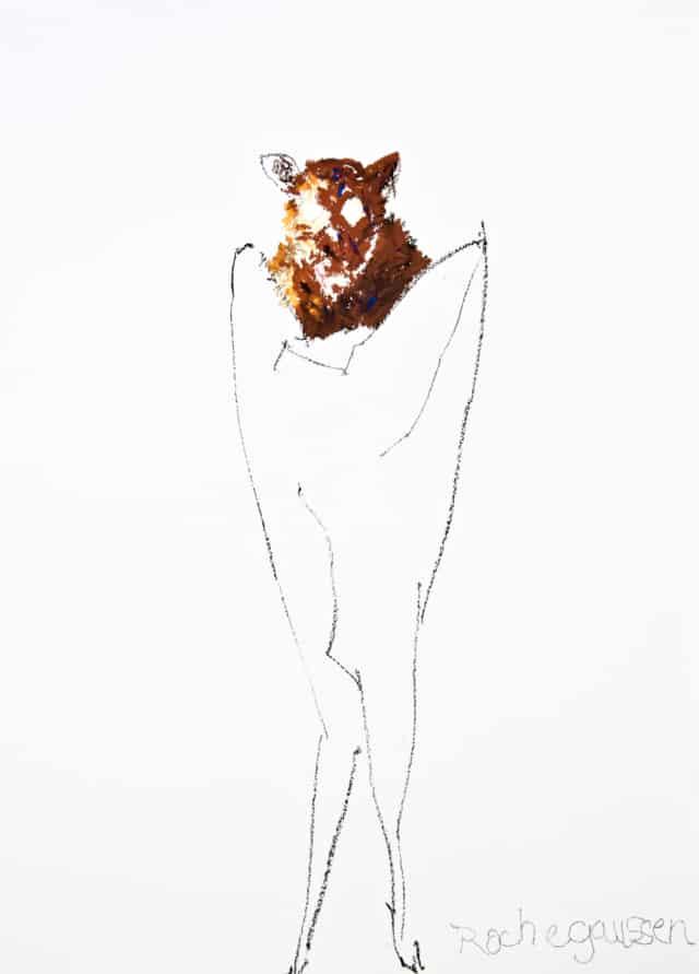 Beuys performance II, 2020 Huile et pastel sur carton 64 x 50 cm ©ROCHEGAUSSEN