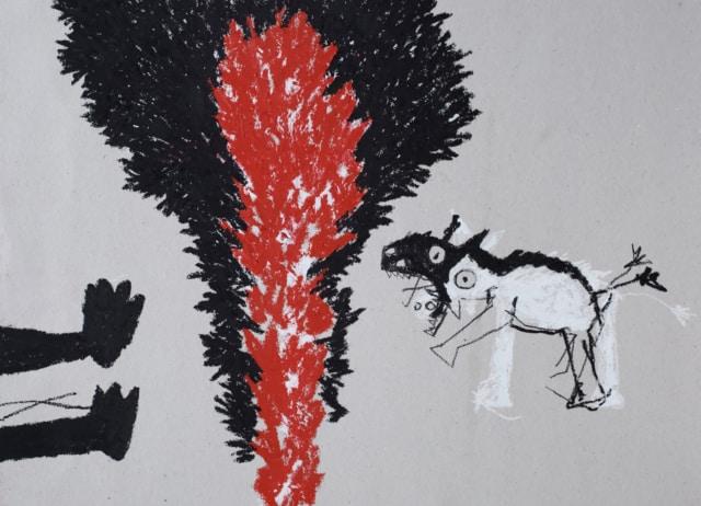 Buisson ardent, 2020 Huile et pastel sur carton 45 x 26 cm ©ROCHEGAUSSEN