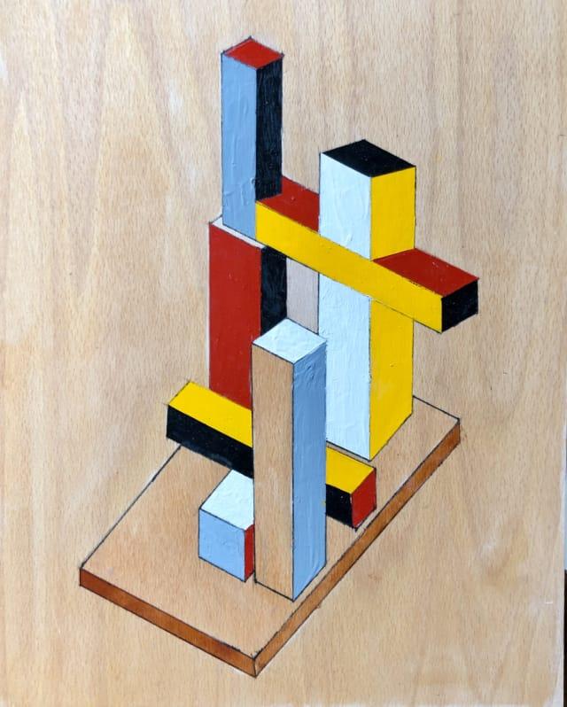 Untitled #13, 2017 Émail sur bois 41 x 33 cm ©Dean Tavoularis