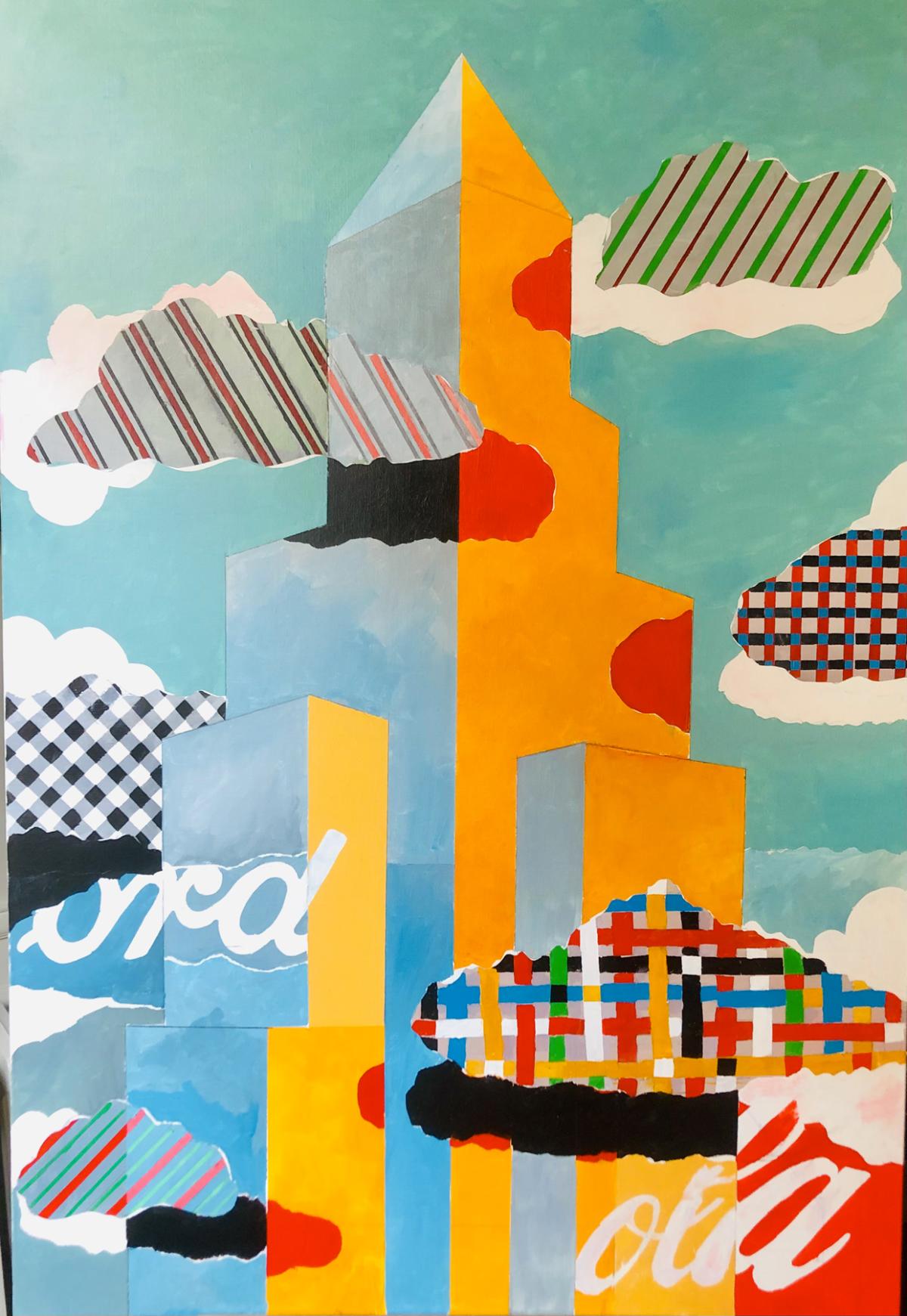 City Building, 2021 Acrylique sur toile, 130 x 90 cm ©Dean Tavoularis