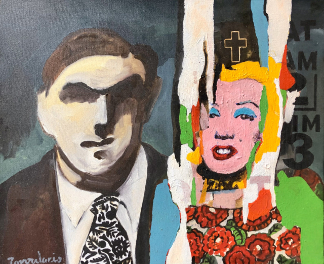Thug with Spanish Fascist Wife, 2007 Acrylique sur toile, 46 x 38 cm ©Dean Tavoularis