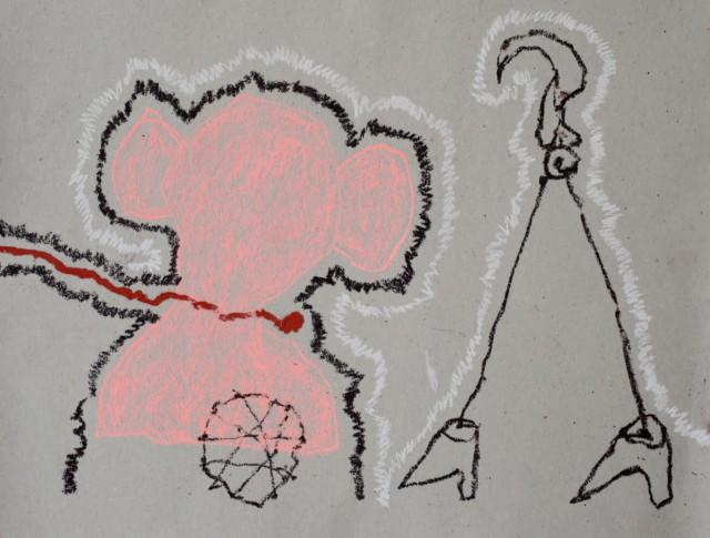 Rose c'est la vie, 2019 peinture, huile, craie et fusain sur papier 45 x 26 cm RG-20030 ©ROCHEGAUSSEN