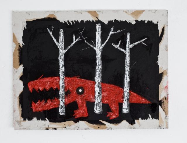 Selva Oscura, 2019 Huile, craie et pastel sur carton 54,5 x 42 cm ©ROCHEGAUSSEN