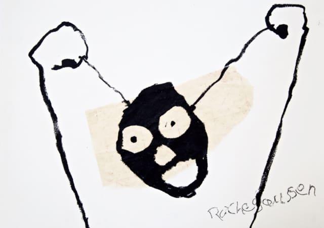 Étendoir II, 2020 Craie et pastel sur carton 40,5 x 29 cm ©ROCHEGAUSSEN