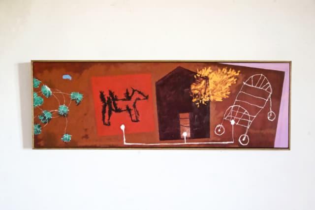 Jouer mais pas tuer, 2020 Encre de chine, pastel et acrylique sur toile 150 x 50 cm ©ROCHEGAUSSEN
