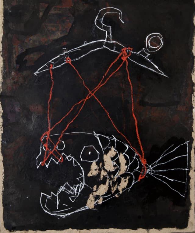 Le trébuchet, 2019 Peinture à l'huile, craie, encre de chine et colorant sur carton 82 x 69 cm ©ROCHEGAUSSEN