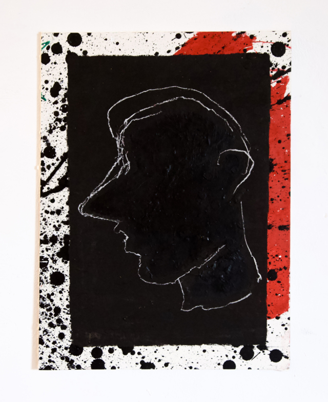 Portrait caché, 2019 Craie, acrylique, pastel et encre de chine 38 x 50 cm ©ROCHEGAUSSEN