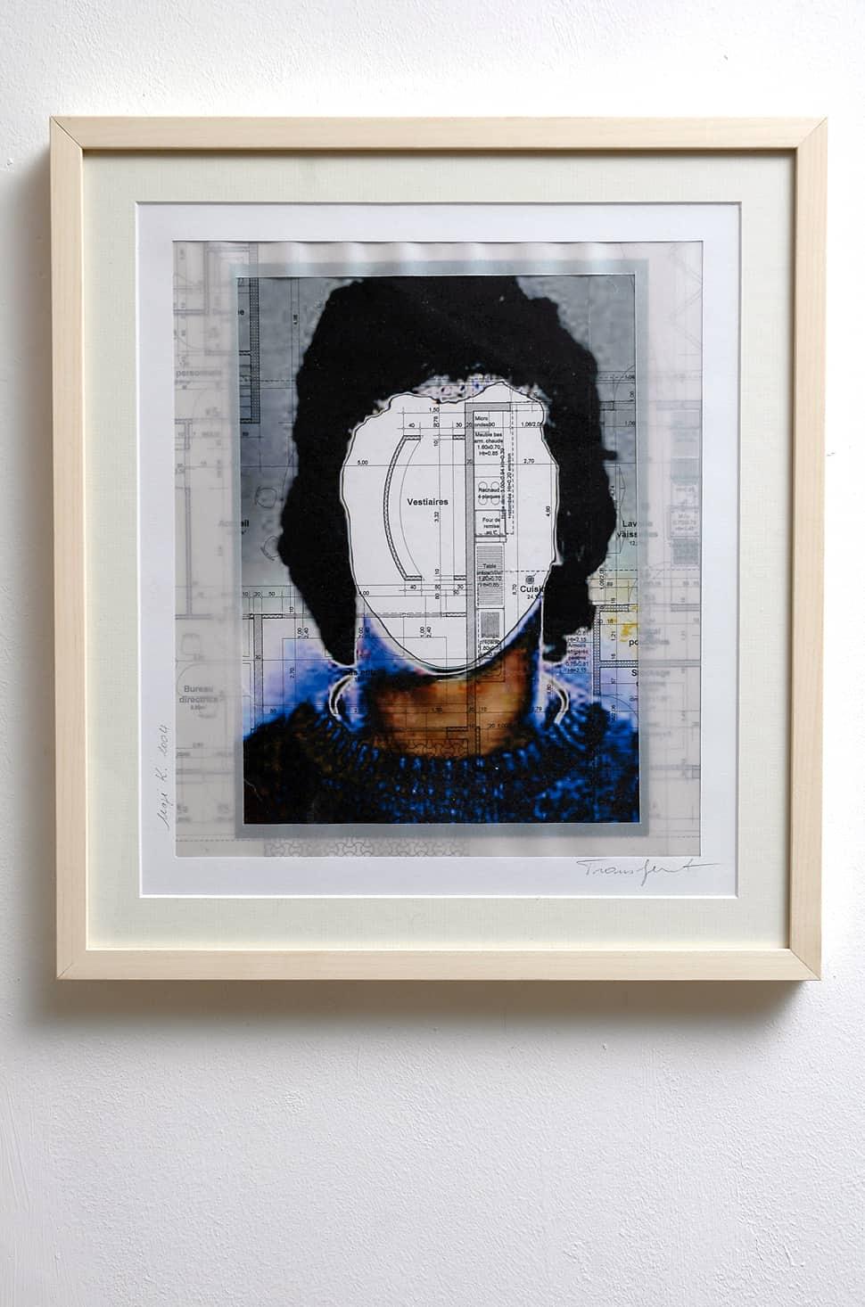 Transfert, 2004/06 Portrait sur plan d'architecture 42 x 37 cm ©Naji Kamouche