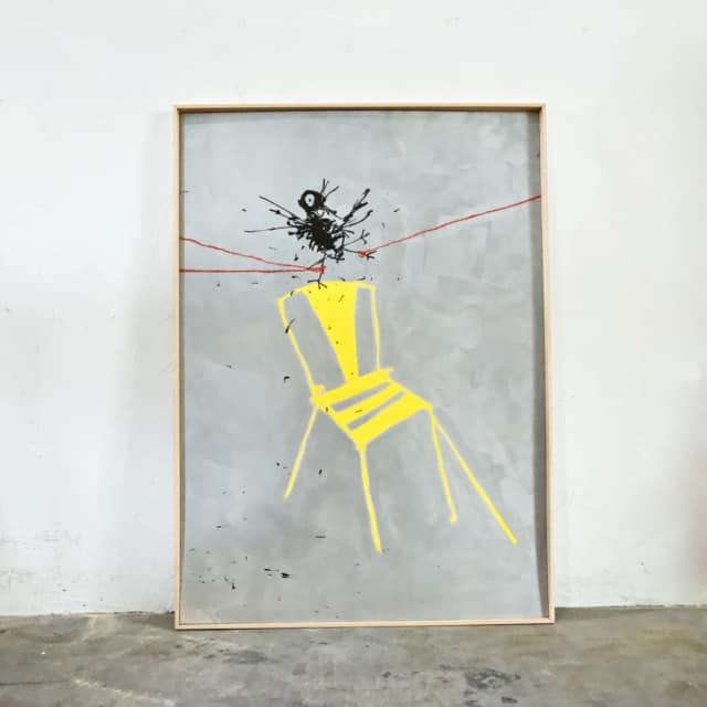 Qui va à la chasse, 2021 Huile, cire et pastel sur carton, 140 x 100 cm ©ROCHEGAUSSEN
