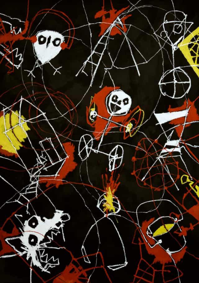 Tohu bohu, 2021 dessin huile et encre de chine sur carton 140 x 101 cm RG-2109 ©ROCHEGAUSSEN