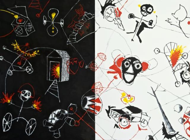 Clair obscur, 2021 Huile, pastel et encre de chine sur papier cartonné 163 x 80 cm RG-2102 ©ROCHEGAUSSEN