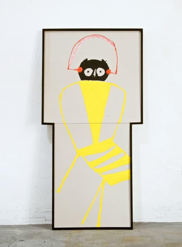 Écoute le petit duc, 2021 peinture huile et pastel sur carton 103,5 x 52,5 cm RG-2105 ©ROCHEGAUSSEN