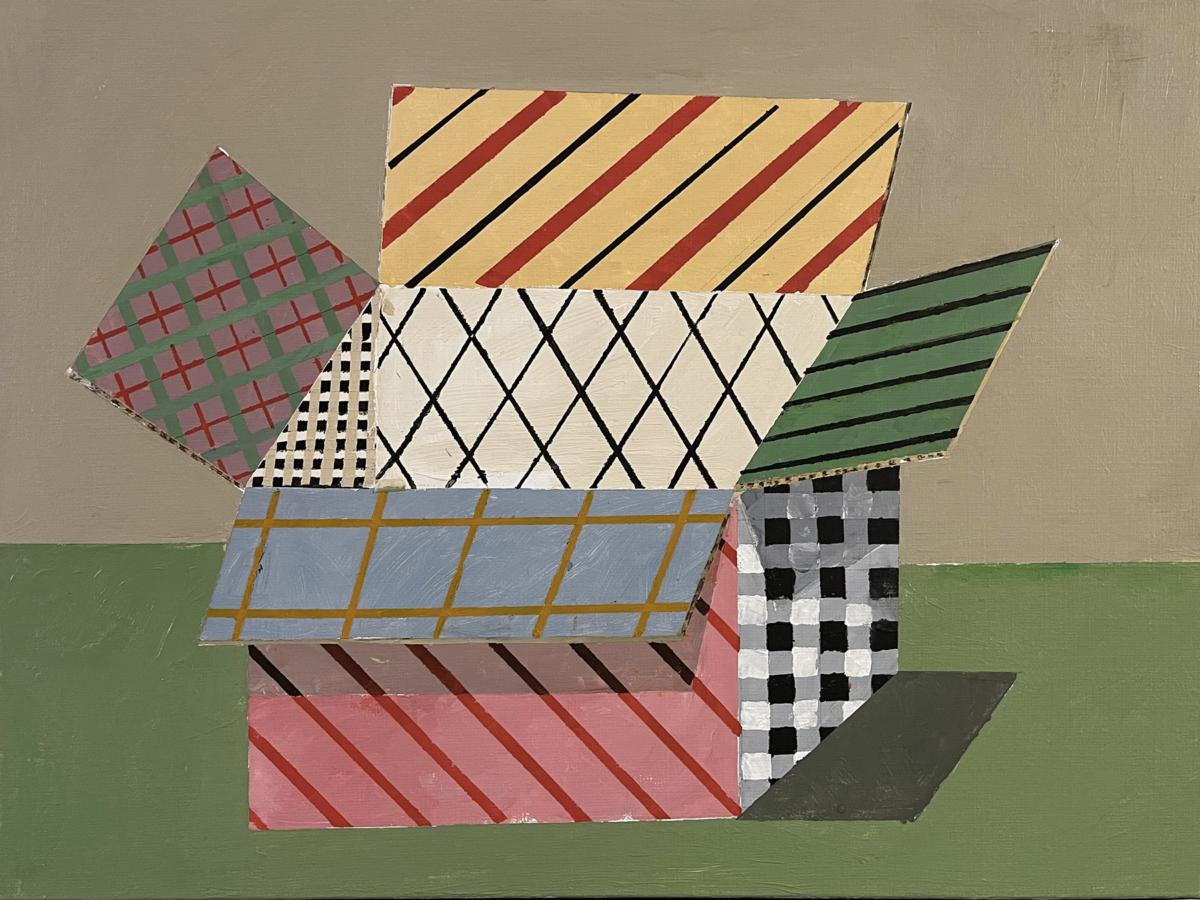 The gift box, 2021 peinture acrylique sur toile 46 x 61 cm DT21-058 ©Dean Tavoularis