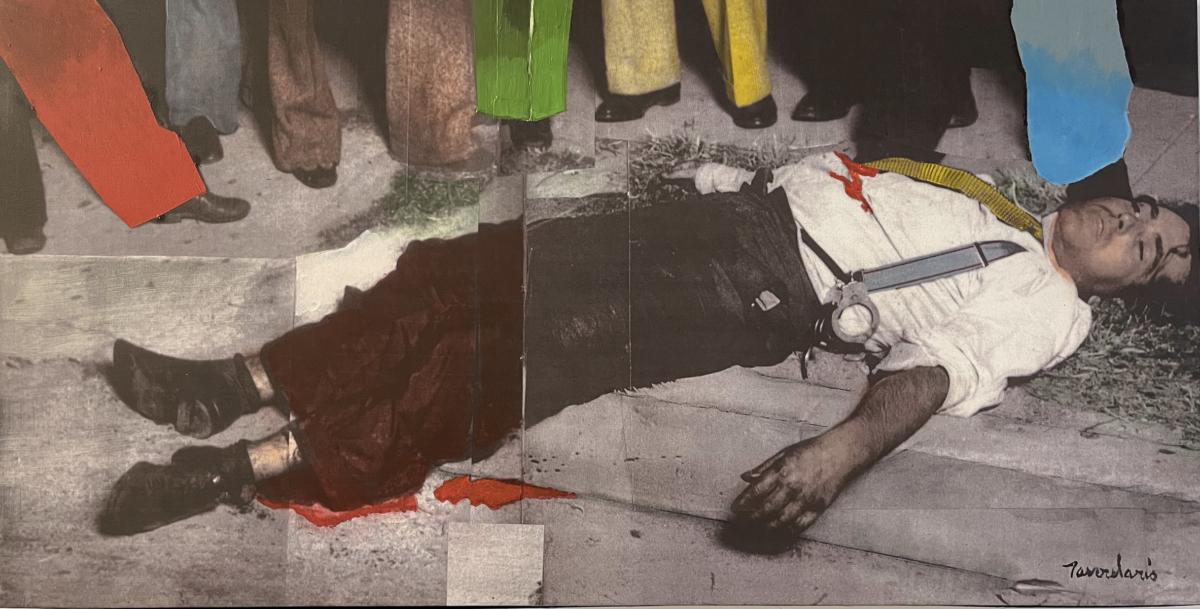 à vos pieds II, 2007 peinture acrylique sur toile photosensible 55,5 x 109 cm DT21-066 ©Dean Tavoularis