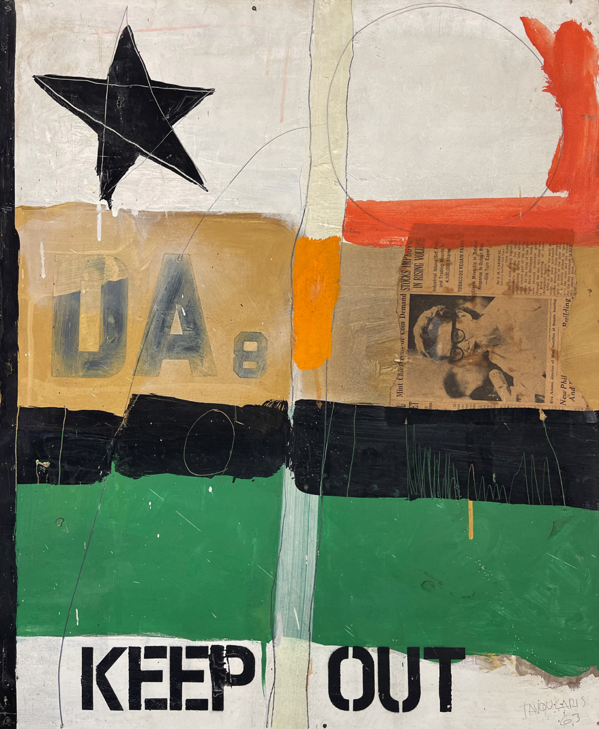 Keep out, 1963 Acrylique sur bois, 61 x 50 cm DT21-042 ©Dean Tavoularis