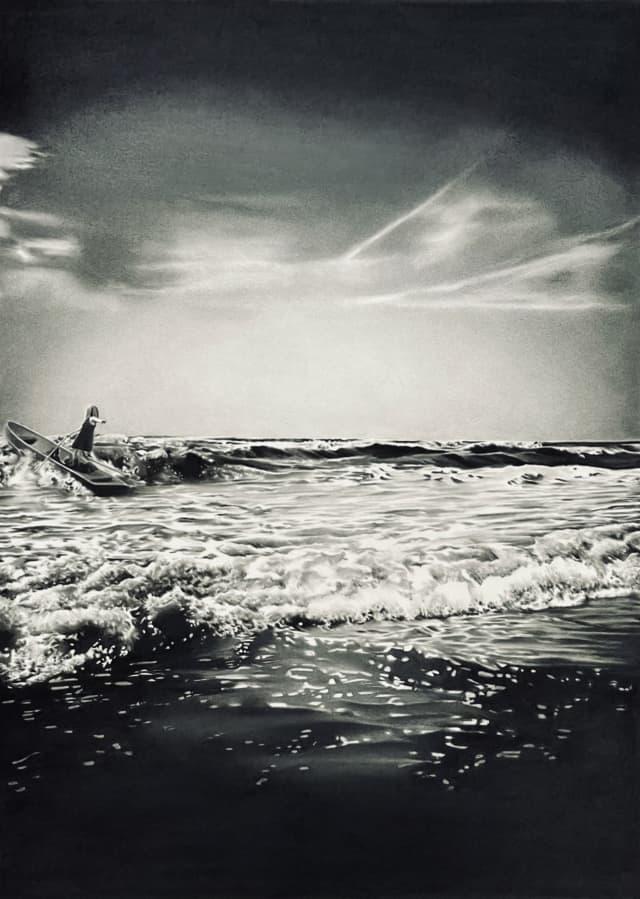 Tu n'es pas obligée de t'en aller, 2020 Dessin à la pierre noire sur papier, 50 x 65 cm, RT972 ©Raphaël Tachdjian