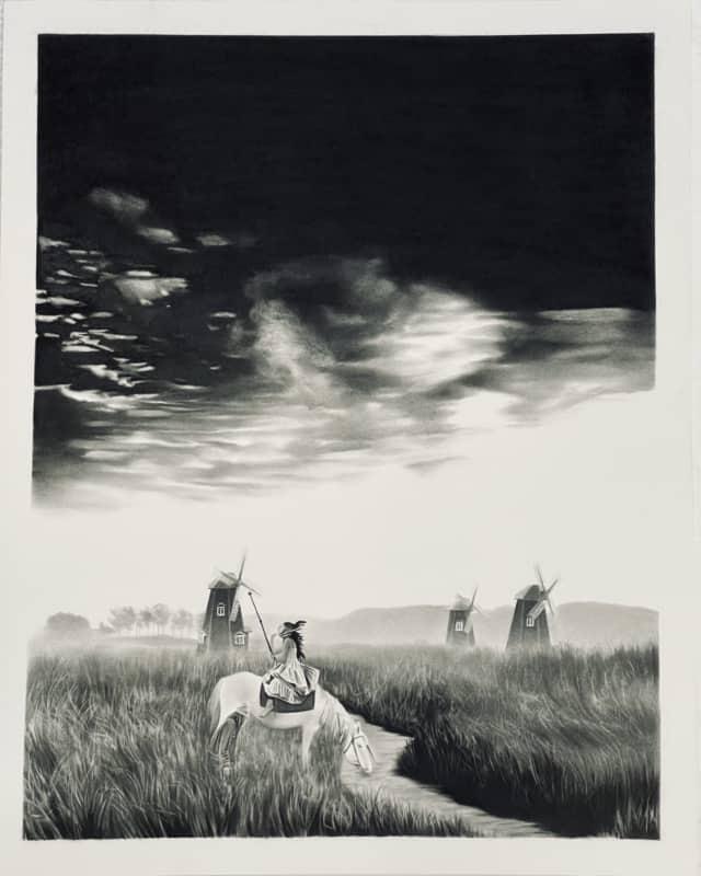 Dona qui chante, 2019, Dessin à la pierre noire sur papier, 59 x 75 cm, RT980 ©Raphaël Tachdjian