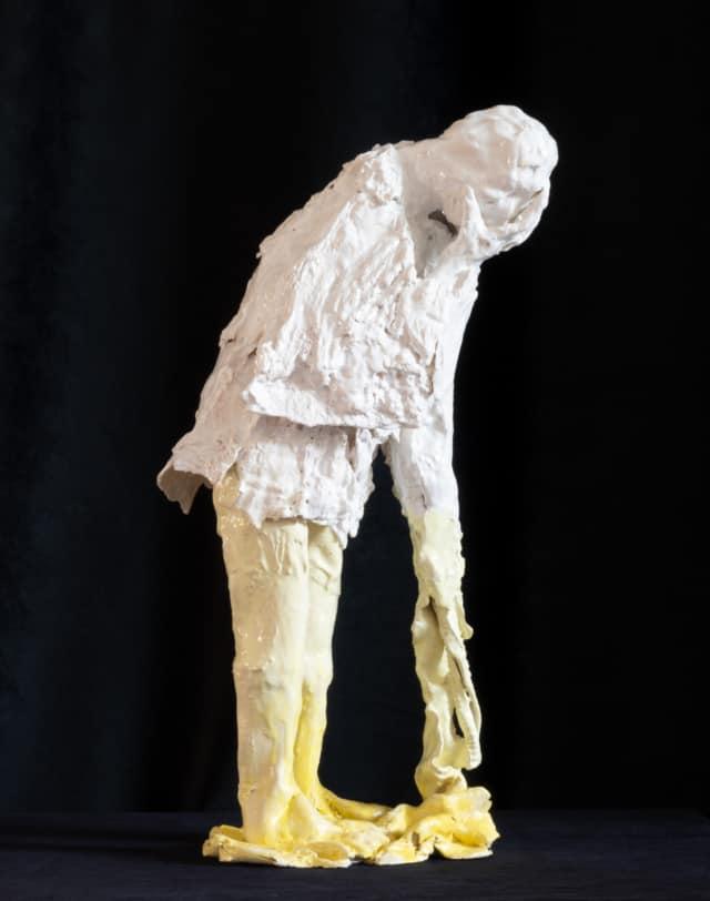 Le penseur blanc, 2021 Sculpture céramique H 58 x L 20 x P 24 cm BC-2102 ©Bachelot&Caron
