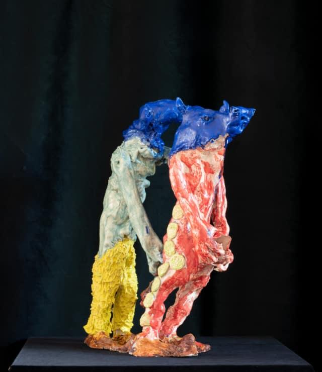 Couple Ovide Rhinocéros, 2021 Sculpture céramique H 60 x L 23 x P 36 cm BC-2103 ©Bachelot&Caron